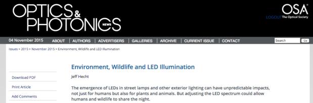 Optics and Photonics News Covers Environmental Impacts ofLighting